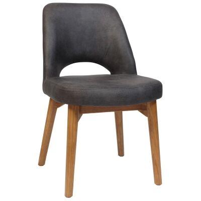Albury Commercial Grade Fabric Dining Chair, Timber Leg, Slate / Light Oak