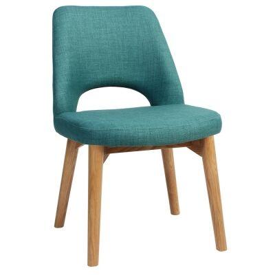 Albury Commercial Grade Fabric Dining Chair, Timber Leg, Teal / Light Oak