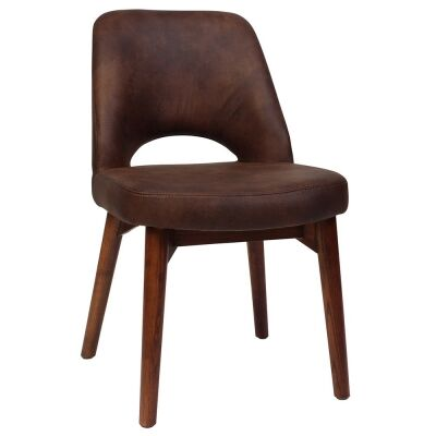 Albury Commercial Grade Eastwood Fabric Dining Chair, Timber Leg, Bison / Light Walnut