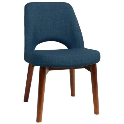 Albury Commercial Grade Fabric Dining Chair, Timber Leg, Blue / Light Walnut