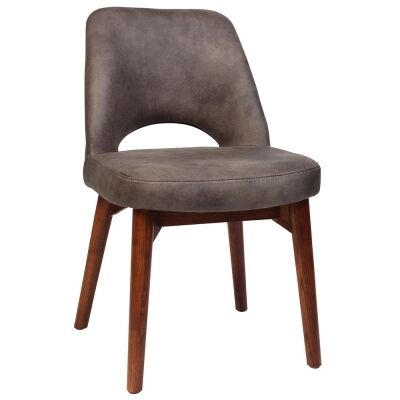 Albury Commercial Grade Fabric Dining Chair, Timber Leg, Donkey / Light Walnut
