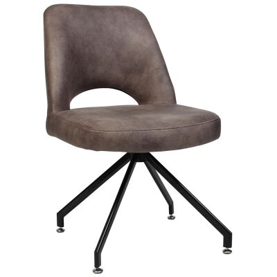Albury Commercial Grade Fabric Dining Chair, Metal Trestle Leg, Donkey / Black