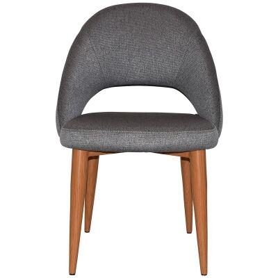 Chevron Commercial Grade Fabric Dining Chair, Metal Leg, Steel / Light Oak