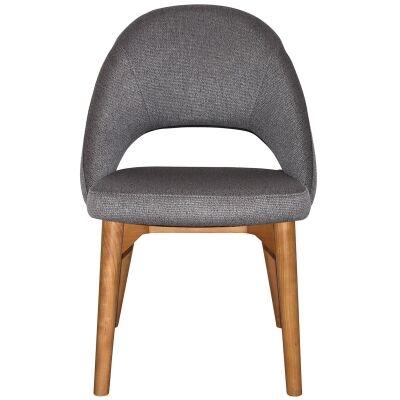 Chevron Commercial Grade Fabric Dining Chair, Timber Leg, Steel / Light Oak