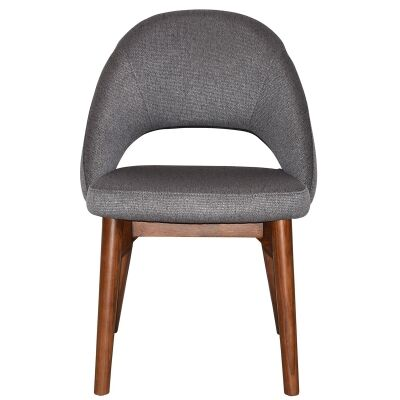 Chevron Commercial Grade Fabric Dining Chair, Timber Leg, Steel / Light Walnut