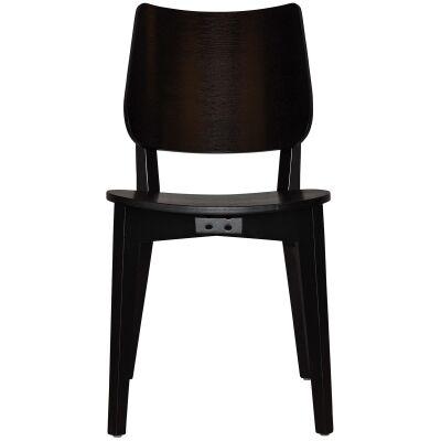 Dakota Commercial Grade Oak Timber Dining Chair, Timber Seat, Black