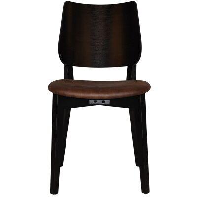 Dakota Commercial Grade Oak Timber Dining Chair, Fabric Seat, Bison / Black