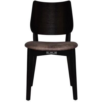 Dakota Commercial Grade Oak Timber Dining Chair, Fabric Seat, Donkey / Black