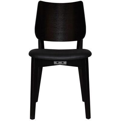 Dakota Commercial Grade Oak Timber Dining Chair, Vinyl Seat, Black / Black