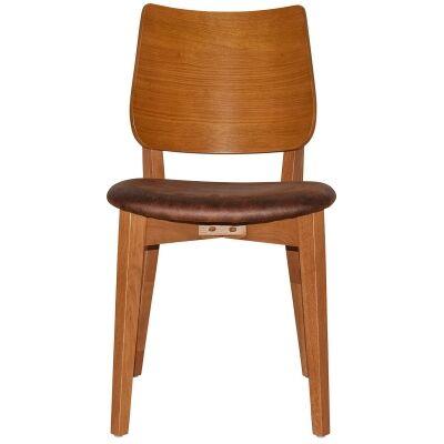 Dakota Commercial Grade Oak Timber Dining Chair, Fabric Seat, Bison / Light Oak