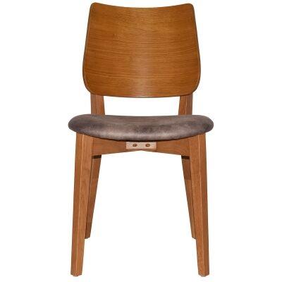 Dakota Commercial Grade Oak Timber Dining Chair, Fabric Seat, Donkey / Light Oak
