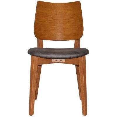 Dakota Commercial Grade Oak Timber Dining Chair, Fabric Seat, Slate / Light Oak