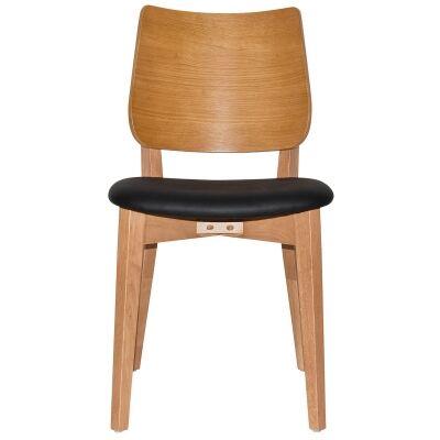 Dakota Commercial Grade Oak Timber Dining Chair, Vinyl Seat, Black / Light Oak