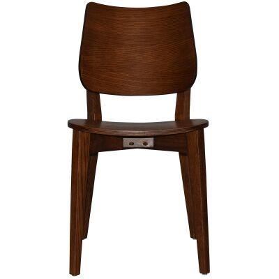 Dakota Commercial Grade Oak Timber Dining Chair, Timber Seat, Light Walnut