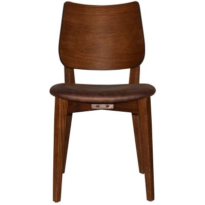 Dakota Commercial Grade Oak Timber Dining Chair, Fabric Seat, Bison / Light Walnut