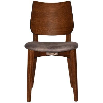 Dakota Commercial Grade Oak Timber Dining Chair, Fabric Seat, Donkey / Light Walnut