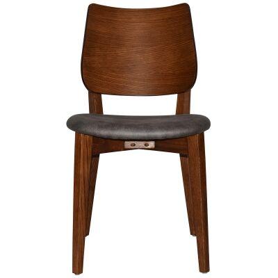Dakota Commercial Grade Oak Timber Dining Chair, Fabric Seat, Slate / Light Walnut