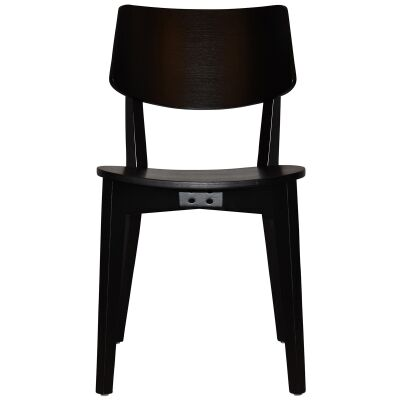 Phoenix Commercial Grade Oak Timber Dining Chair, Timber Seat, Black