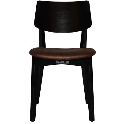 Phoenix Commercial Grade Oak Timber Dining Chair, Fabric Seat, Bison / Black