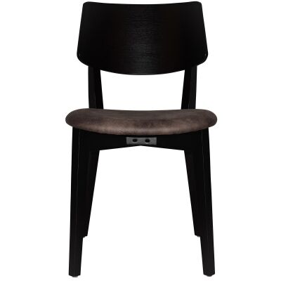 Phoenix Commercial Grade Oak Timber Dining Chair, Fabric Seat, Donkey / Black