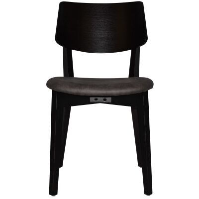 Phoenix Commercial Grade Oak Timber Dining Chair, Fabric Seat, Slate / Black