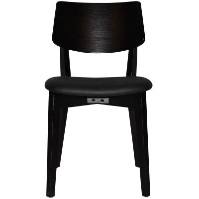 Phoenix Commercial Grade Oak Timber Dining Chair, Vinyl Seat, Black / Black