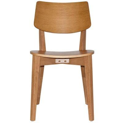 Phoenix Commercial Grade Oak Timber Dining Chair, Timber Seat, Light Oak