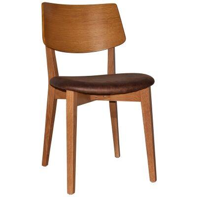 Phoenix Commercial Grade Oak Timber Dining Chair, Fabric Seat, Bison / Light Oak