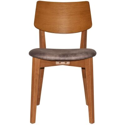 Phoenix Commercial Grade Oak Timber Dining Chair, Fabric Seat, Donkey / Light Oak