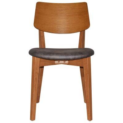 Phoenix Commercial Grade Oak Timber Dining Chair, Fabric Seat, Slate / Light Oak