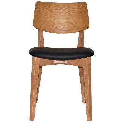Phoenix Commercial Grade Oak Timber Dining Chair, Vinyl Seat, Black / Light Oak