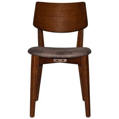 Phoenix Commercial Grade Oak Timber Dining Chair, Fabric Seat, Donkey / Light Walnut