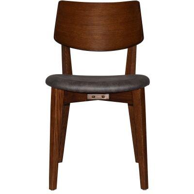 Phoenix Commercial Grade Oak Timber Dining Chair, Fabric Seat, Slate / Light Walnut