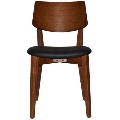 Phoenix Commercial Grade Oak Timber Dining Chair, Vinyl Seat, Black / Light Walnut