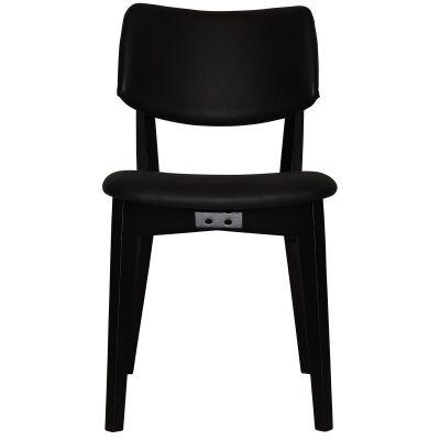 Phoenix Commercial Grade Oak Timber Dining Chair, Vinyle Seat & Back, Black / Black