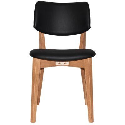 Phoenix Commercial Grade Oak Timber Dining Chair, Vinyle Seat & Back, Black / Light Oak