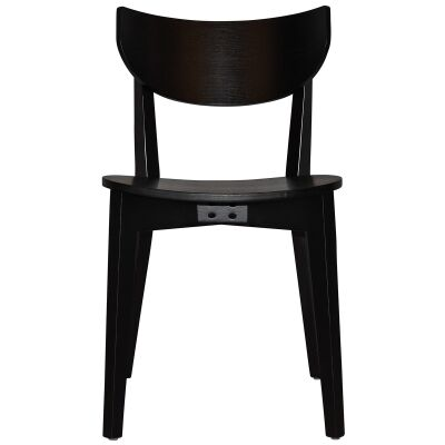 Rialto Commercial Grade Oak Timber Dining Chair, Timber Seat, Black