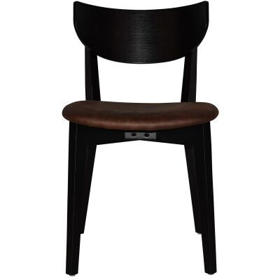 Rialto Commercial Grade Oak Timber Dining Chair, Fabric Seat, Bison / Black