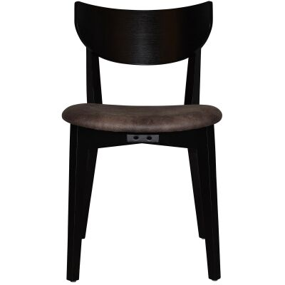 Rialto Commercial Grade Oak Timber Dining Chair, Fabric Seat, Donkey / Black