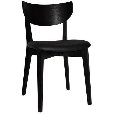 Rialto Commercial Grade Oak Timber Dining Chair, Vinyl Seat, Black / Black