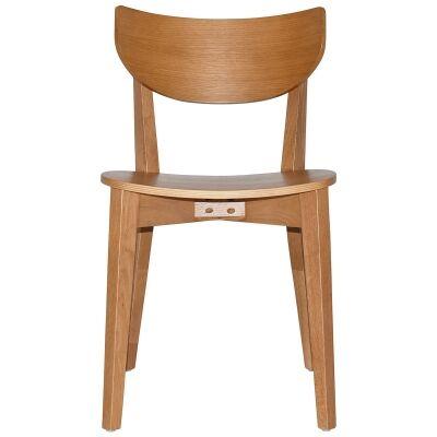 Rialto Commercial Grade Oak Timber Dining Chair, Timber Seat, Light Oak