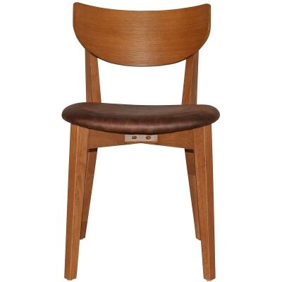 Rialto Commercial Grade Oak Timber Dining Chair, Fabric Seat, Bison / Light Oak