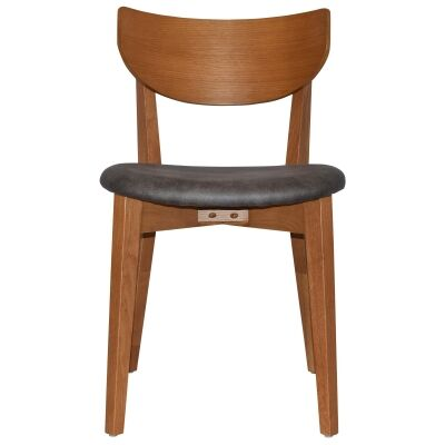 Rialto Commercial Grade Oak Timber Dining Chair, Fabric Seat, Slate / Light Oak