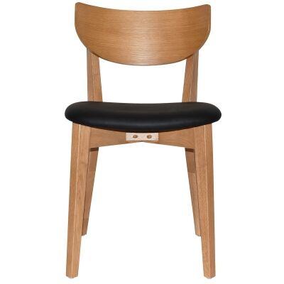 Rialto Commercial Grade Oak Timber Dining Chair, Vinyl Seat, Black / Light Oak