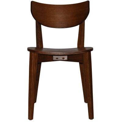 Rialto Commercial Grade Oak Timber Dining Chair, Timber Seat, Light Walnut