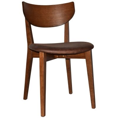 Rialto Commercial Grade Oak Timber Dining Chair, Fabric Seat, Bison / Light Walnut