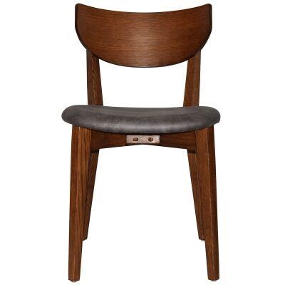 Rialto Commercial Grade Oak Timber Dining Chair, Fabric Seat, Slate / Light Walnut