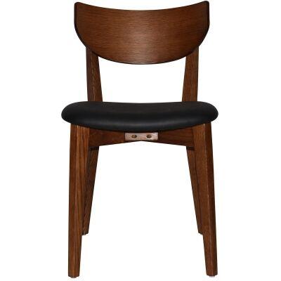 Rialto Commercial Grade Oak Timber Dining Chair, Vinyl Seat, Black / Light Walnut