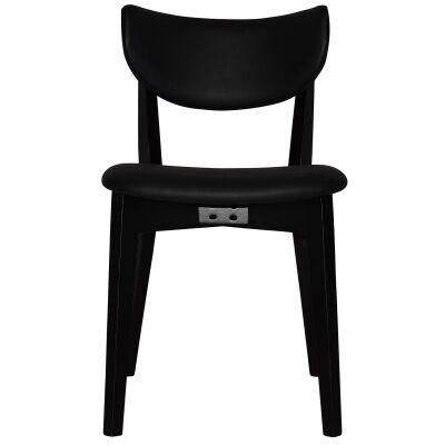 Rialto Commercial Grade Oak Timber Dining Chair, Vinyle Seat & Back, Black / Black