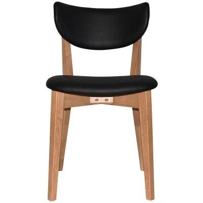 Rialto Commercial Grade Oak Timber Dining Chair, Vinyle Seat & Back, Black / Light Oak